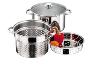 Stainless Steel Steamer / Pasta Set 3pc  / 24cm