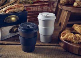 Black Reusable Bamboo Fibre Coffee Cup 35cl/12.25oz