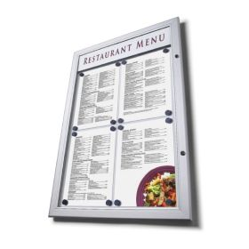 2 x A4P Illuminated Premium Outdoor Menu Case with printer header.