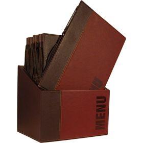 Contemporary Menu Box + 20 A4 Wine Red Menus - Genware