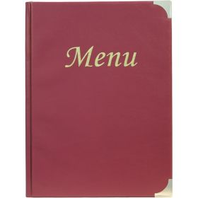 A4 Menu Holder Wine Red 8 Pages - Genware