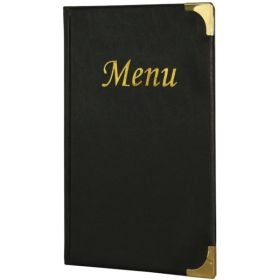 A5 Menu Holder Black 8 Pages - Genware