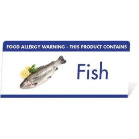 "Allergen Warning Buffet Tent Notice ""This Product Contains Fish"" BT008"