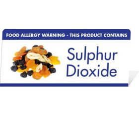 "Allergen Warning Buffet Tent Notice ""This Product Contains Sulphur Dioxide"" BT0017"