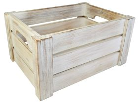 White Washed Wooden Display Crate NAT-1014W