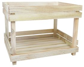 White Washed Wooden Two Tier Display Shelves NAT-2TSW
