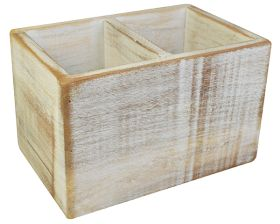 White Washed Wooden Condiment Holder 21 x 13 x 13 LWH cm - NAT-CBW