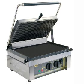 Roller Grill PANINI L Large Single - Ribbed Top & Flat Base Plates Contact Grill