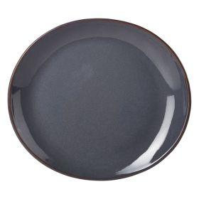 Terra Stoneware Rustic Blue Oval Plate 25x22cm - pk 6