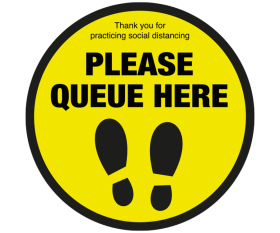 Please Queue Here With Symbol Social Distancing Floor Graphic Sticker