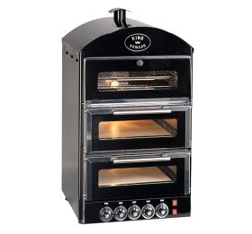 King Edward PK2W Pizza King Oven - Double Deck With Warmer - Black