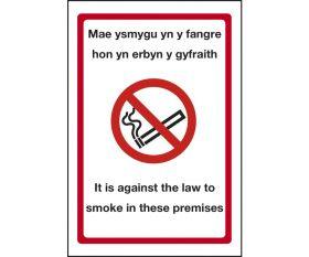 Welsh No Smoking Against the Law Restaurant / Cafe Signs