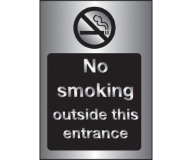 Silver No smoking Outside this Entrance Sign - 200x150mm - 3mm Brushed Silver Dibond