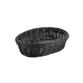 Black Oval Polywicker Basket 22.5 x 15.5 x 6.5cm - Genware