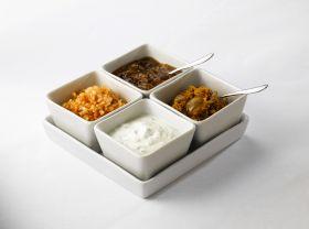 Royal Genware Square Dish Set - For Dips & Meze Indian Cuisine - Full Set