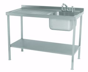 Parry Single Bowl Left Hand Drainer Sink - Stainless Steel L1200 x W600 x W900 - SINK1260L