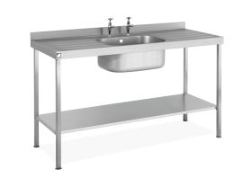 Parry Single Bowl Double Drainer Sink - Stainless Steel  L1200 x W600 x W900 - SINK1260SBDD