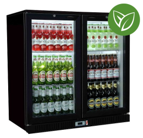 Sterling Pro Green SP2HC-BH Black Hinged Double Door Bottle Cooler 180 Bottles