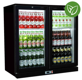 Sterling Pro Green SP2HC-BS Black Sliding Double Door Bottle Cooler 180 Bottles