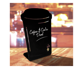 Coffee Cup Shaped Chalk Board Tabletop Message Board