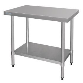 Vogue Stainless Steel Prep Table - T375 - 900(H) x 900(W) x 600(D)mm