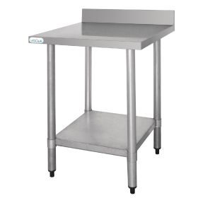 Vogue Stainless Steel Prep Table with Upstand - T379 - 900(H) x 600(W) x 600(D)mm