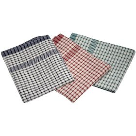Cotton Check Towel 46X69cm 10Pcs Mix Colours - Genware TW02