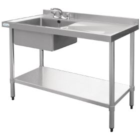 Vogue Stainless Steel Sink Right Hand Drainer 1000x600mm - U901