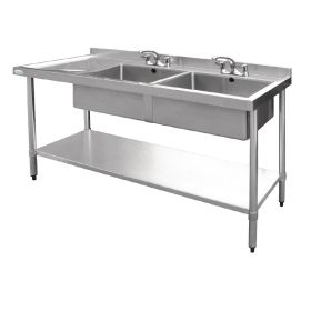 Vogue Stainless Steel Sink Double Bowl with Left Hand Drainer 1800mm - U909