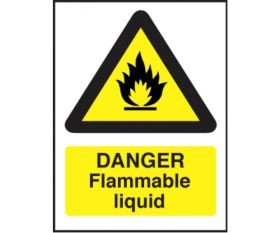 Danger flammable liquid safety sign 150x200mm self-adhesive