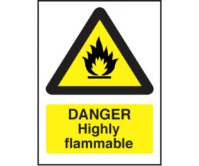 Danger highly flammable safety sign 200x150mm self-adhesive