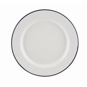 Enamel Wide Rim Plate White & Blue 20cm - Genware