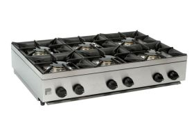 Parry AG6HP - 6 Burner Gas Boiling Top Hob Unit - LPG