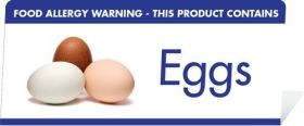 "Allergen Warning Buffet Tent Notices ""This Product Contains Eggs"" BT007"