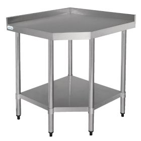 Vogue Stainless Steel Corner Table 600mm - CB907 - Size: 800(W) x 600(D) x 960(H)mm