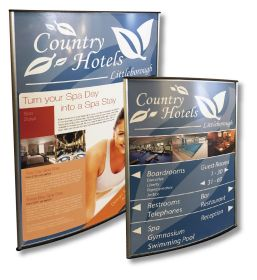 A4 (297x210mm) Curved Contemporary Sign System with insert