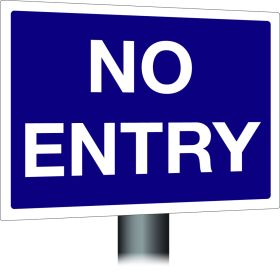 No Entry Sign 300x400mm Wall Mounted