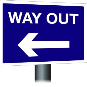 Way Out Sign - Left Arrow 300x400mm Wall Mounted