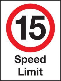 15 mph speed Limit . 600x400mm W/M