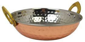 Copper Plated Kadai Dish With Brass Handles - 17cm CPK17