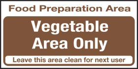 Food prep area. Vegetables only. 100x200mm. S/A
