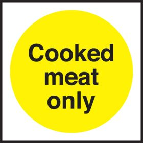 Cooked meat only. 100x100mm. Self Adhesive Vinyl