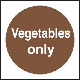 Vegetables only. 100x100mm. Self Adhesive Vinyl