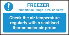 Check freezer temperature guide notice. 100x200mm. S/A