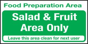 Food prep area . Salad & fruits area only. 100x200mm. S/A