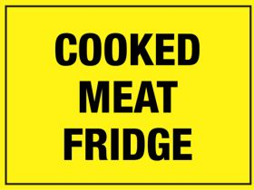 Cooked Meat Fridge. 150x200mm. Self Adhesive Vinyl