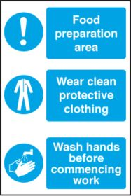Food Prep Area/Wear PPE/ Wash Hands Before Work. 300x200mm. S/A