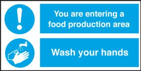 Food Production Area / Wash Your Hands. 150x300mmm