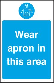 Wear apron in this area. 300x200mm. S/A
