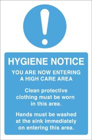 Hygiene Notice. Protective clothing/wash hands. 300x200mm. S/A